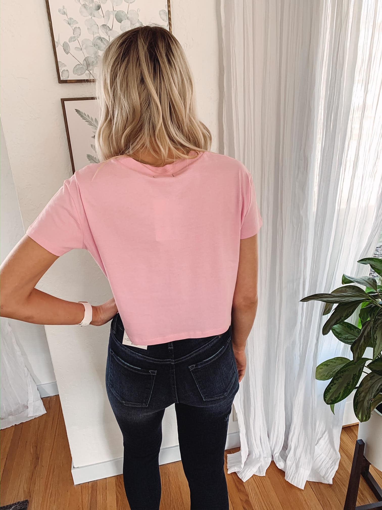 Elsie Pink Crop Tee