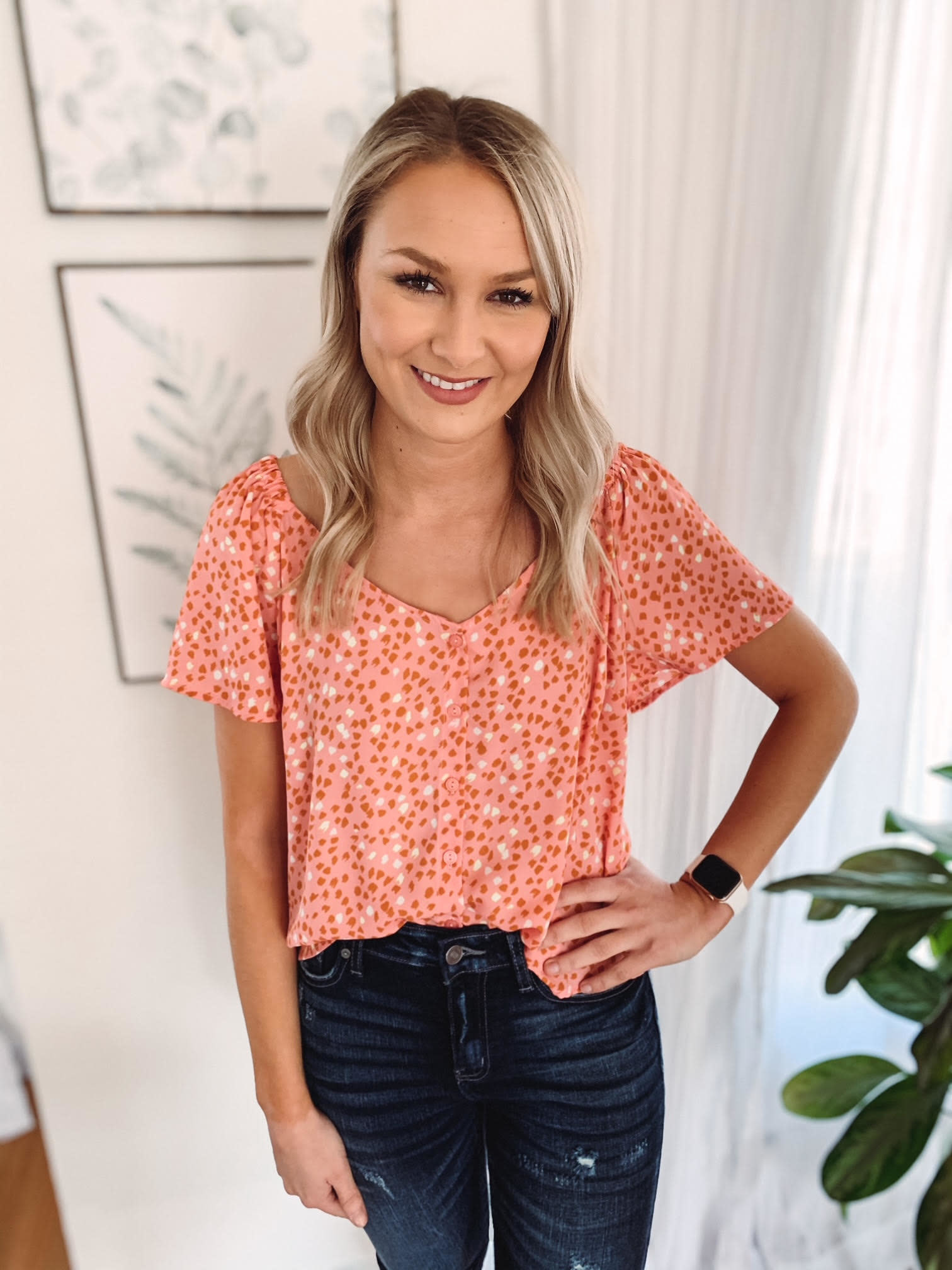 Coral + Yellow Flutter Blouse