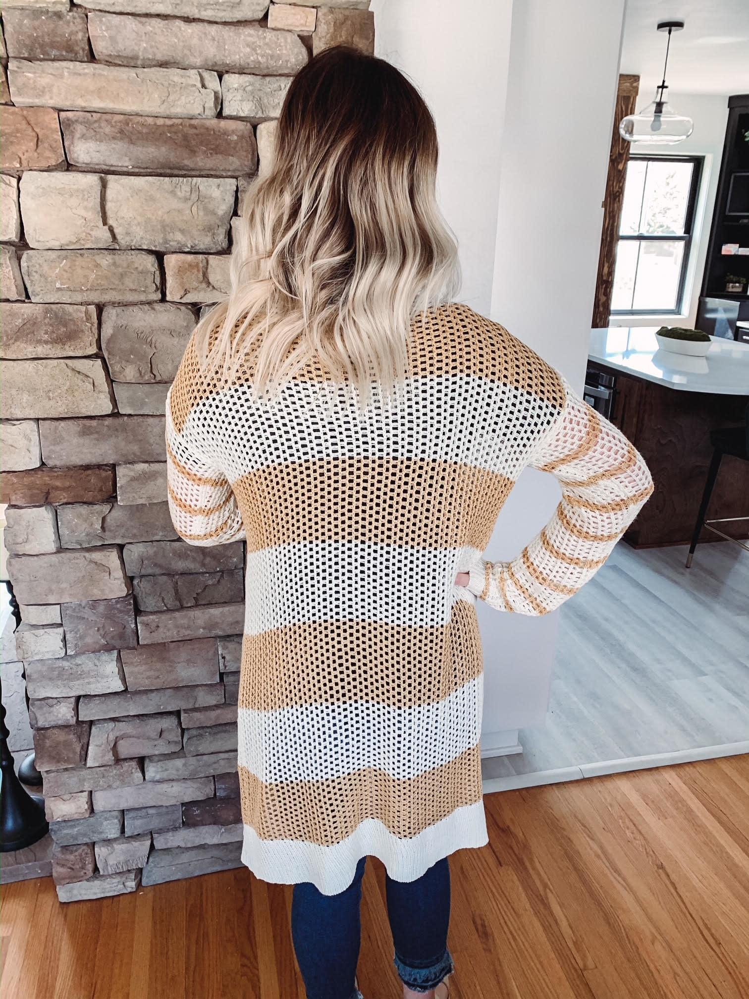Brenna Mustard Striped Cardigan