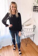 Olivia Smocked Black Blouse