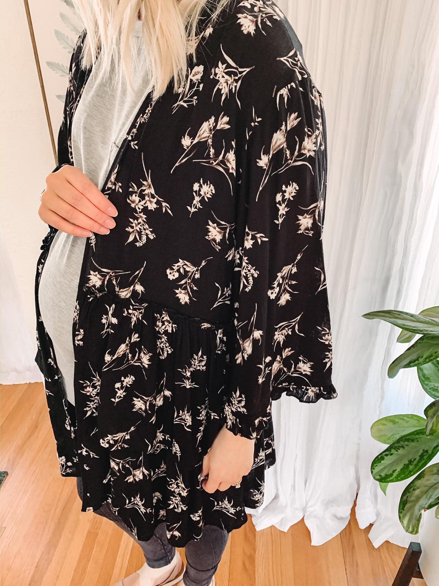 Emily Black Floral Kimono