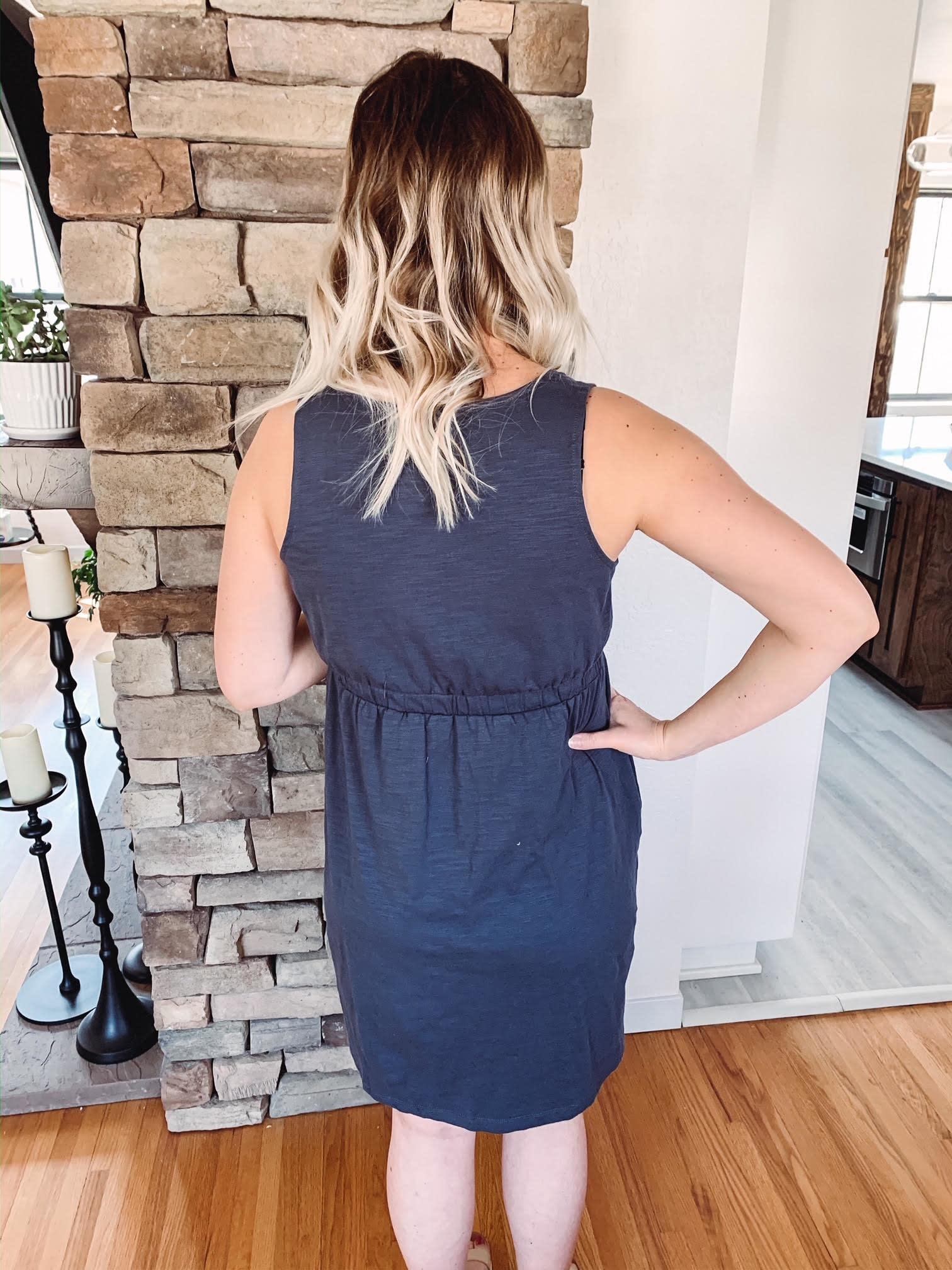 Hannah Charcoal Button Dress