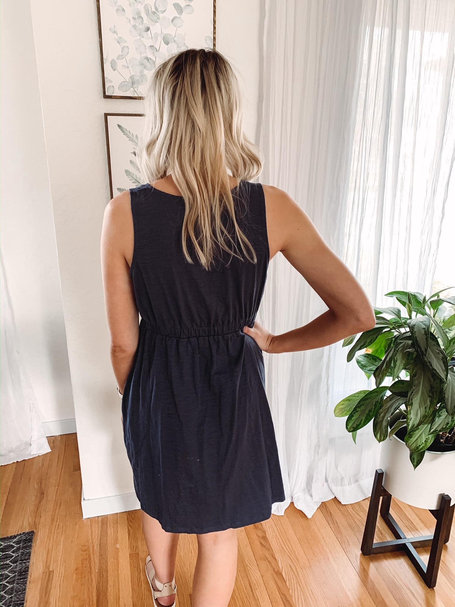 Hannah Navy Button Dress