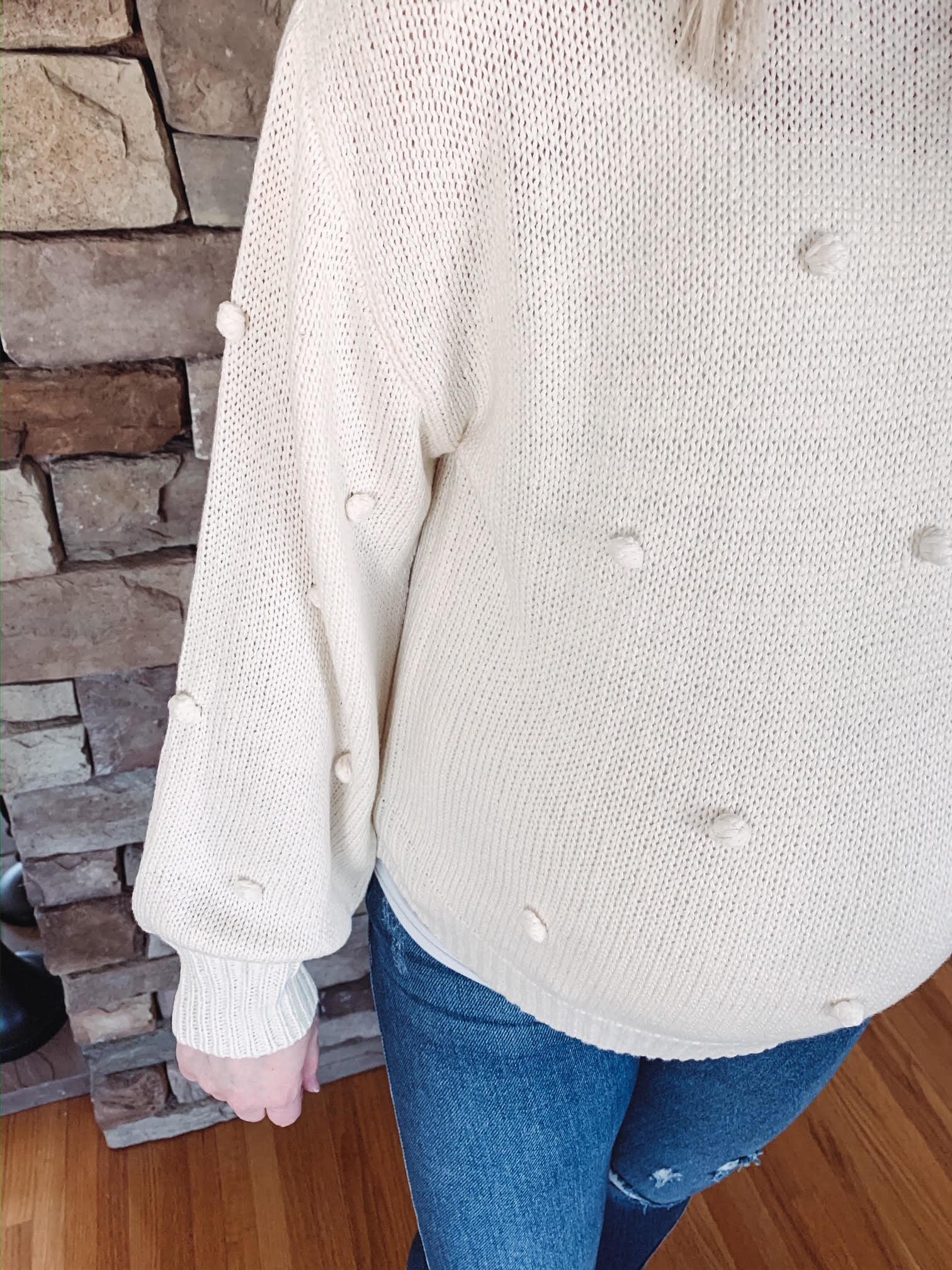 Ivory Pom Pom Sweater