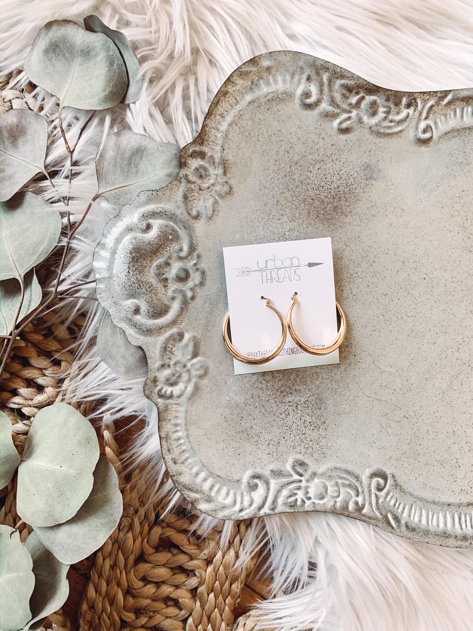 Gold Latch Hoop Earrings