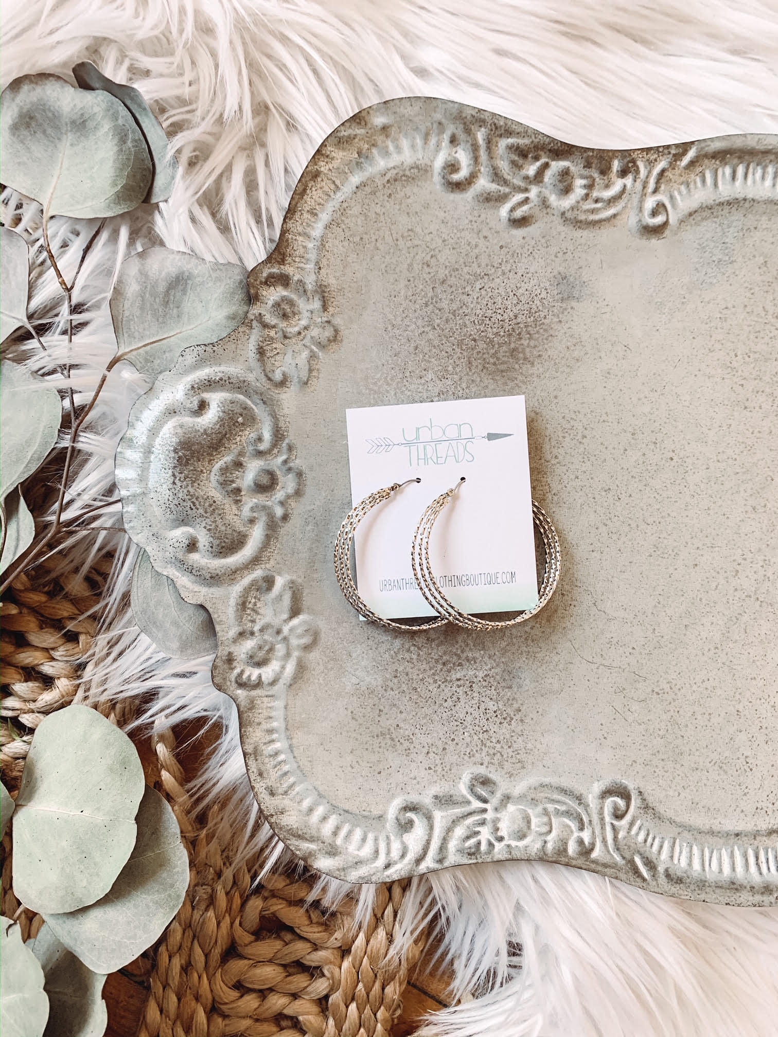 Silver Triple Strand Hoop Earrings