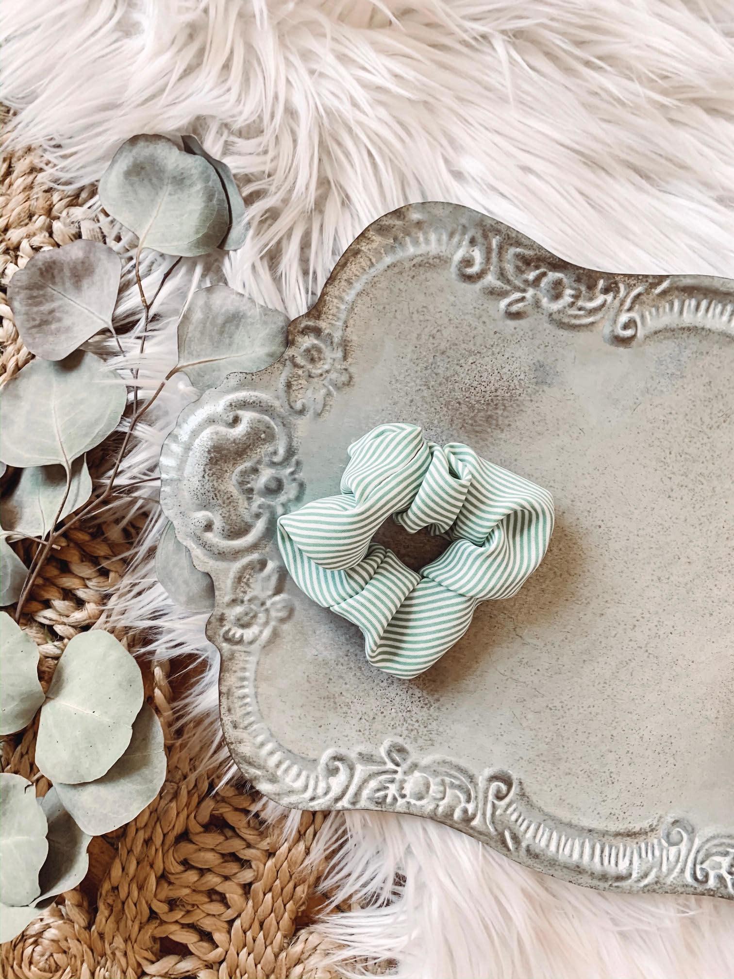 Mint Striped Scrunchie