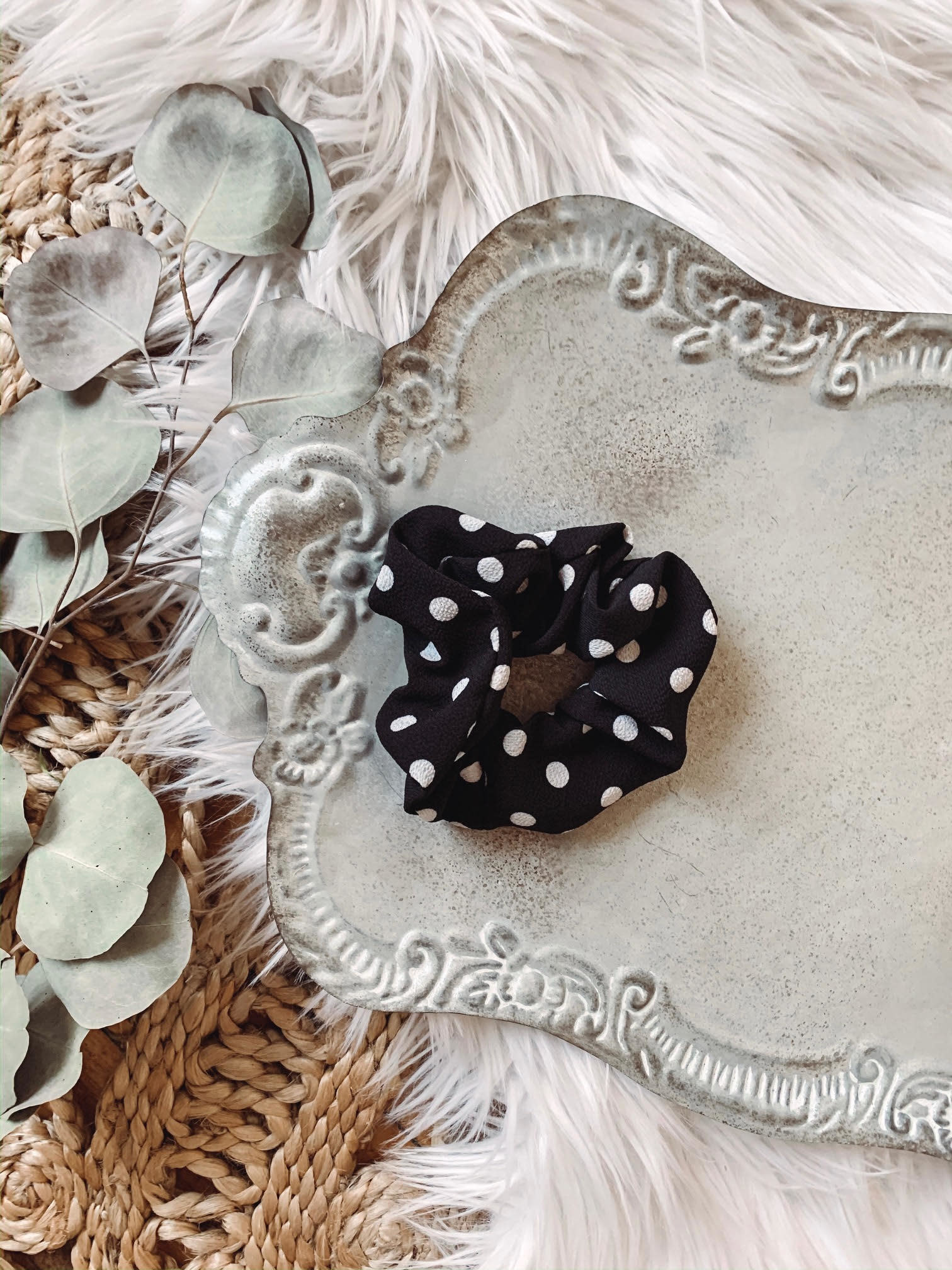 Lauren Black Polka Dot Scrunchie