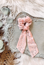Pink + White Floral Tail Scrunchie