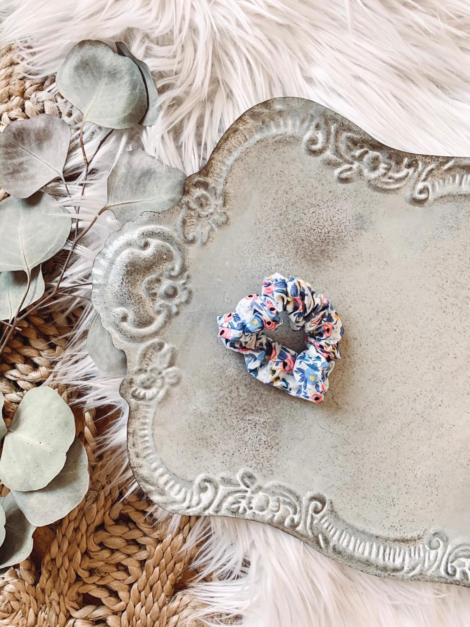 Blue Rose Scrunchie