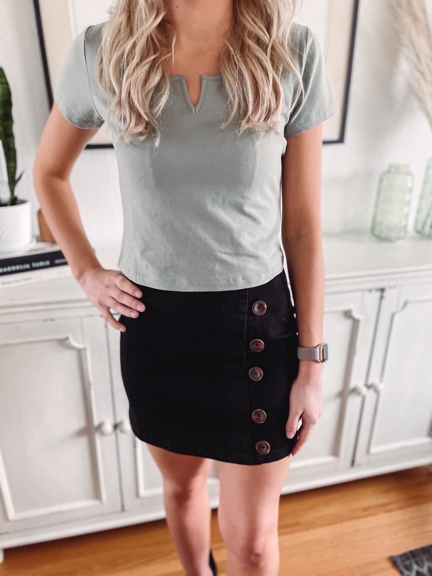 Jessi Black Side Button Skirt