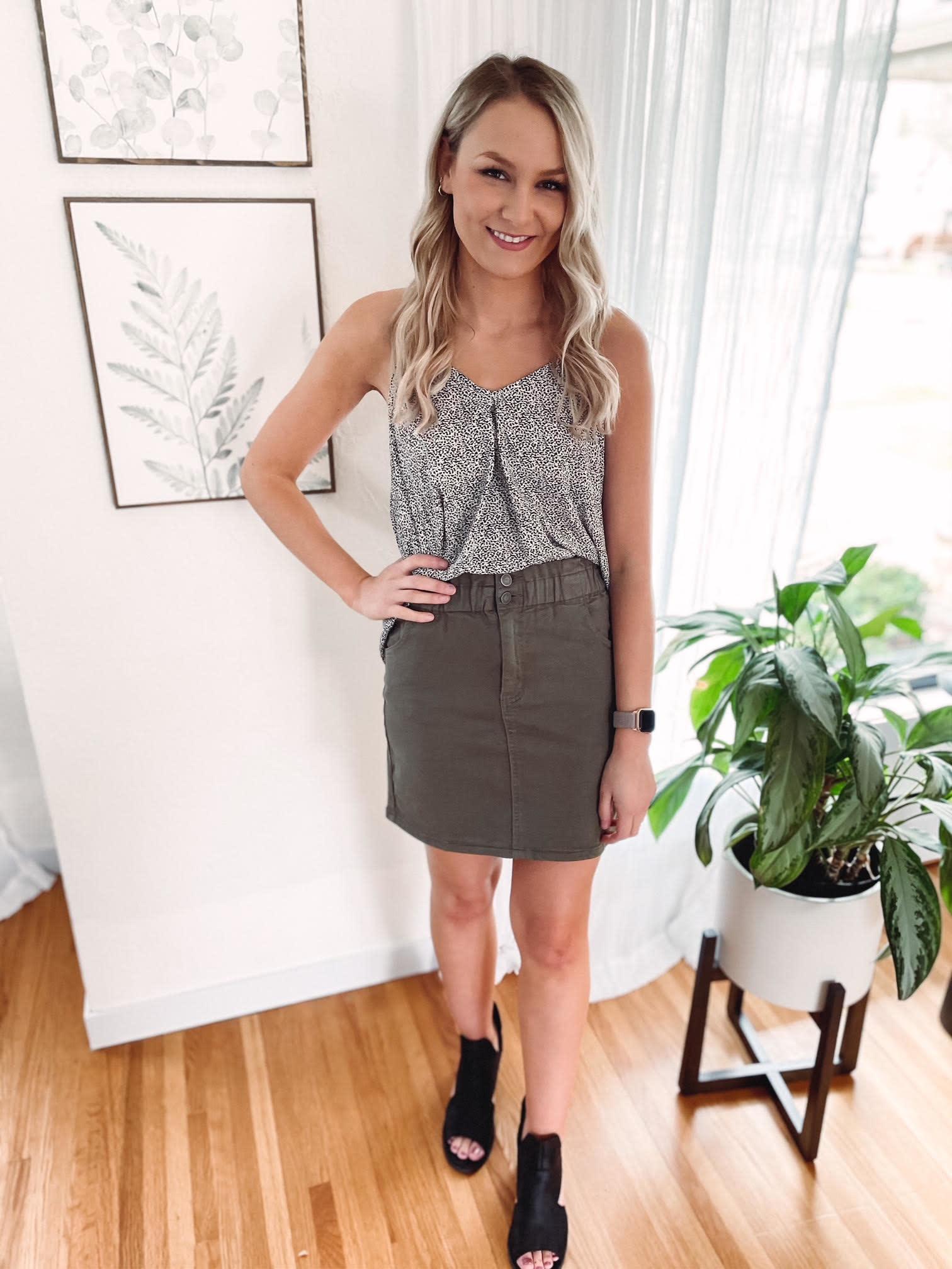 Trish Olive Denim Skirt