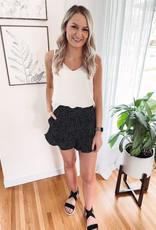 Black Polka Dot Ruffle Shorts