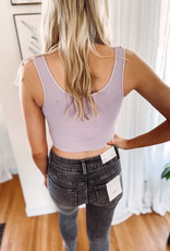 Lavender Ribbed Snap Crop Top