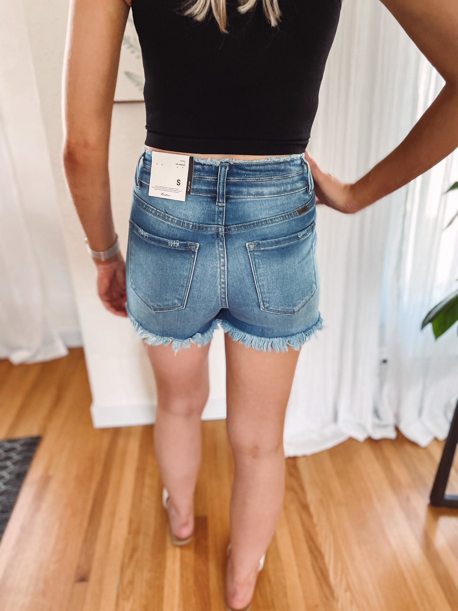 Emma Light Wash Frayed Shorts