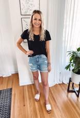 Lana High Rise Distressed Shorts