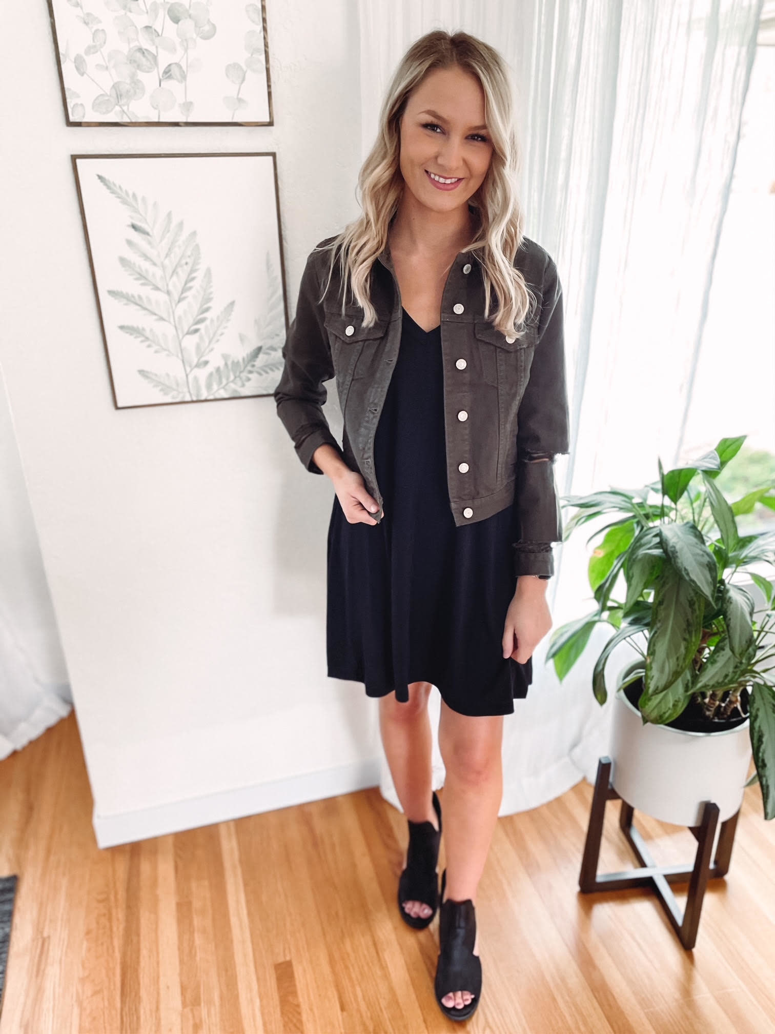 Lyla Olive Distressed Denim Jacket