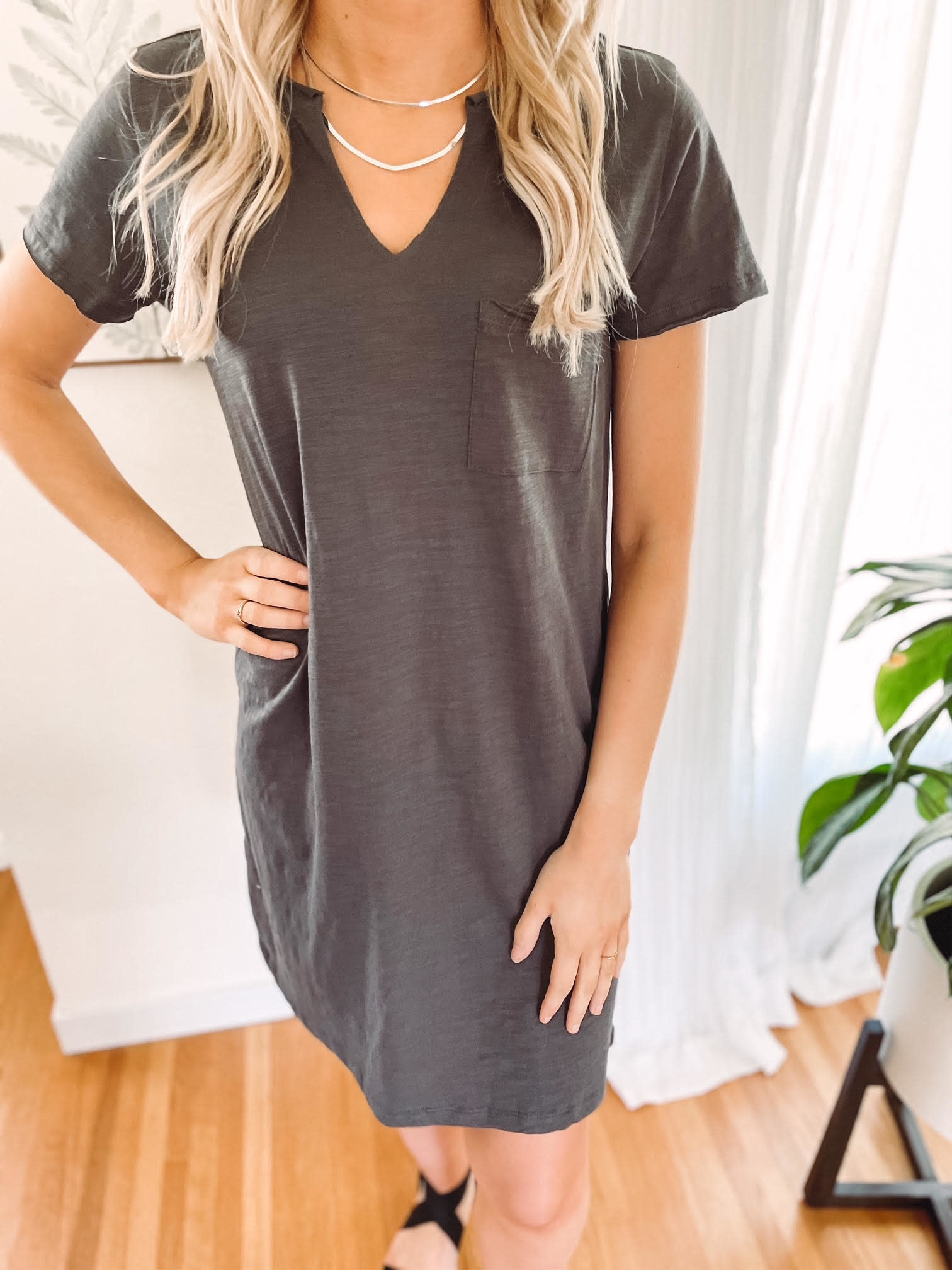 Kinsley Charcoal T-Shirt Dress