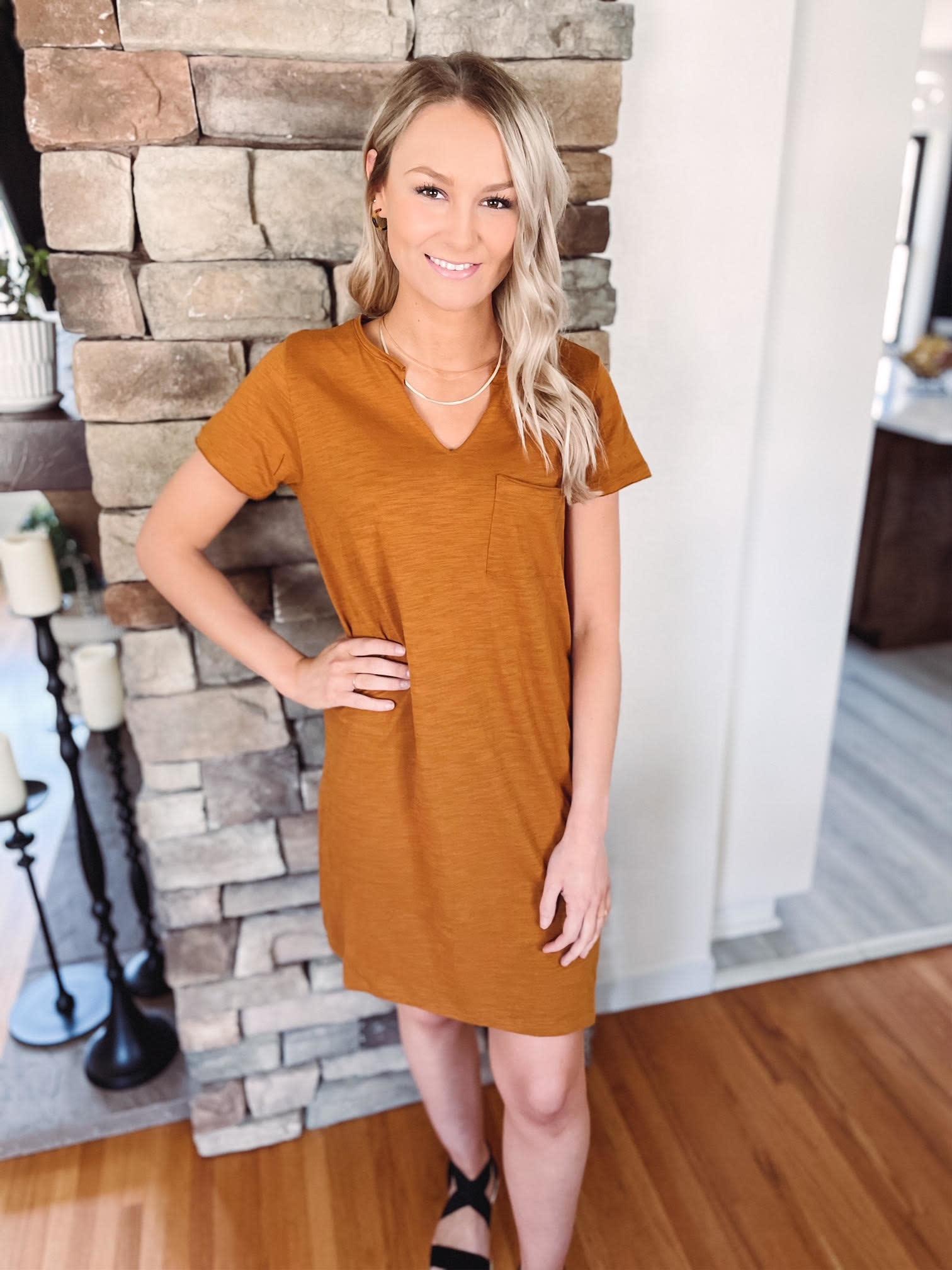 Kinsley Rust T-Shirt Dress