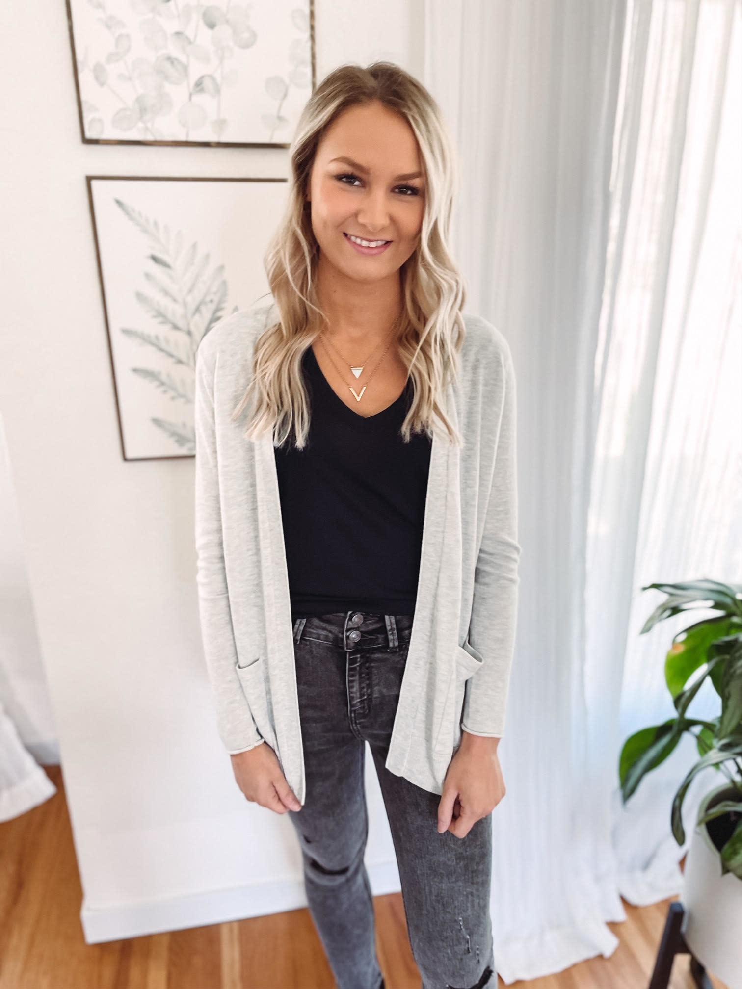 Sophie Grey Button Cardigan