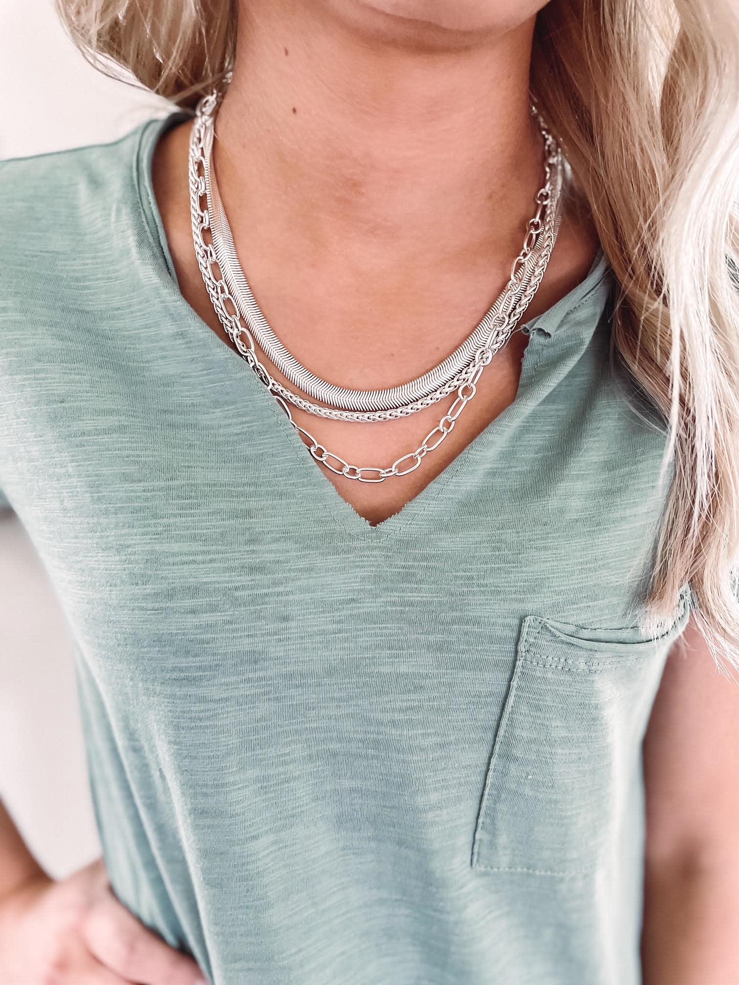 Kayla Silver Layered Necklace