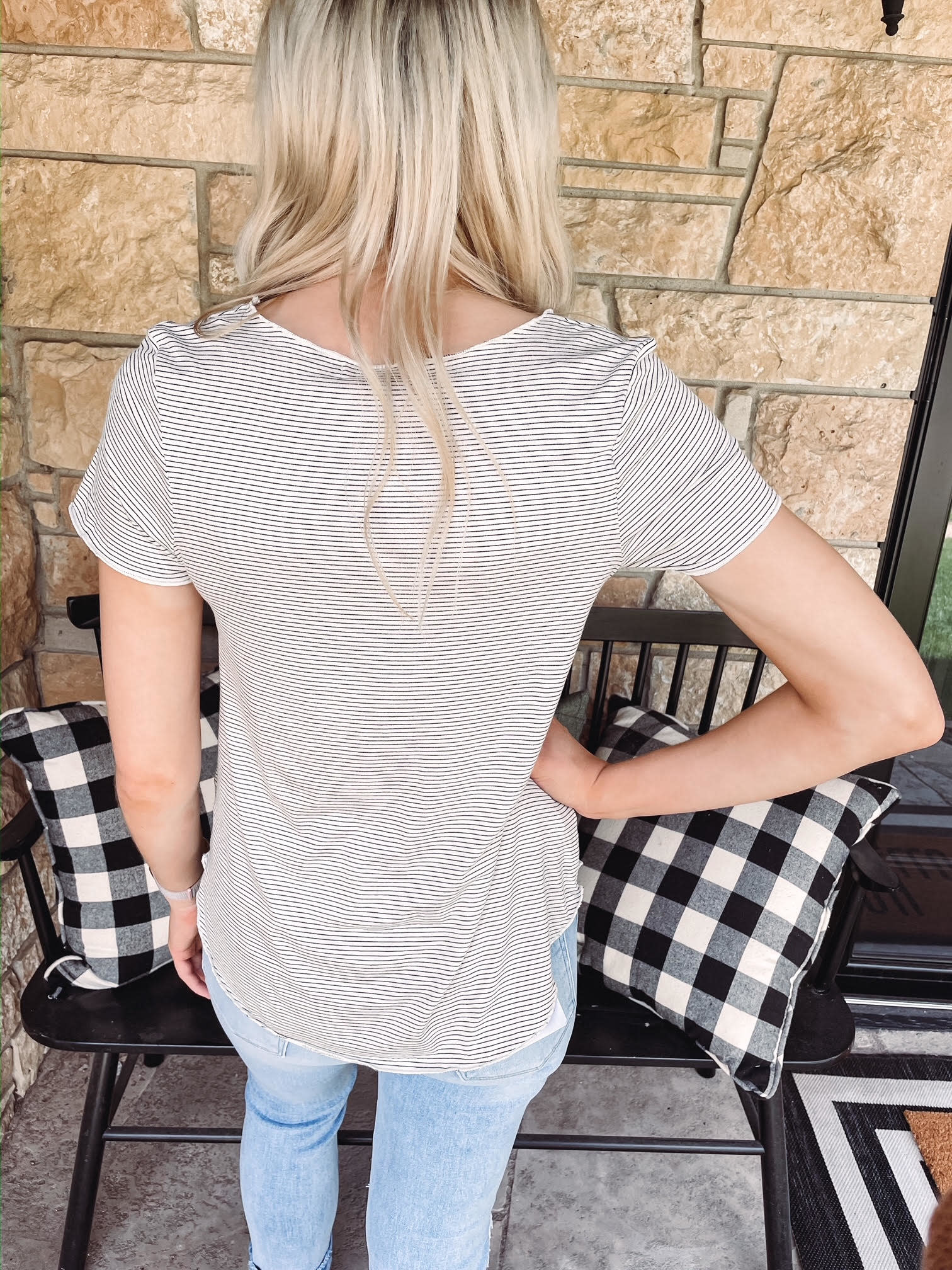 Leah Striped Short Sleeved Top