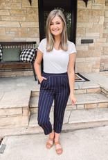 Lynn Navy Striped Pants
