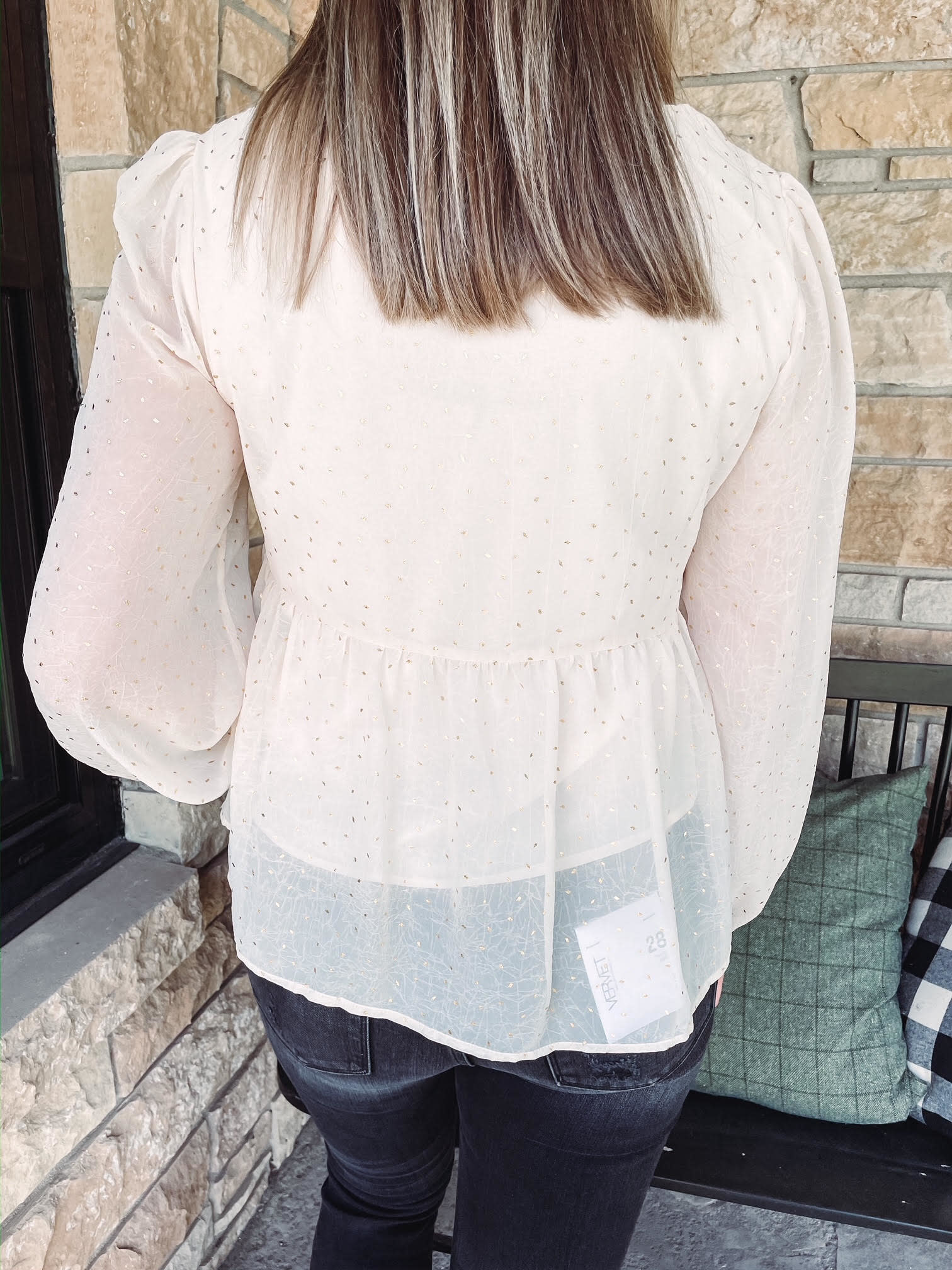 Lia Gold Speckled Sheer Blouse