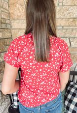 Abigail Printed Red Shirt