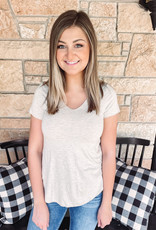Leah Oatmeal Short Sleeve Top