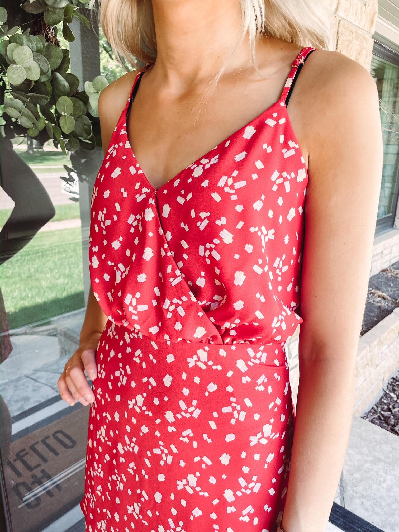 Abigail Printed Red Dress