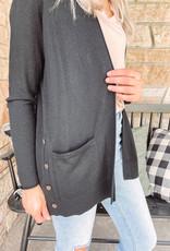 Sophie Black Button Cardigan