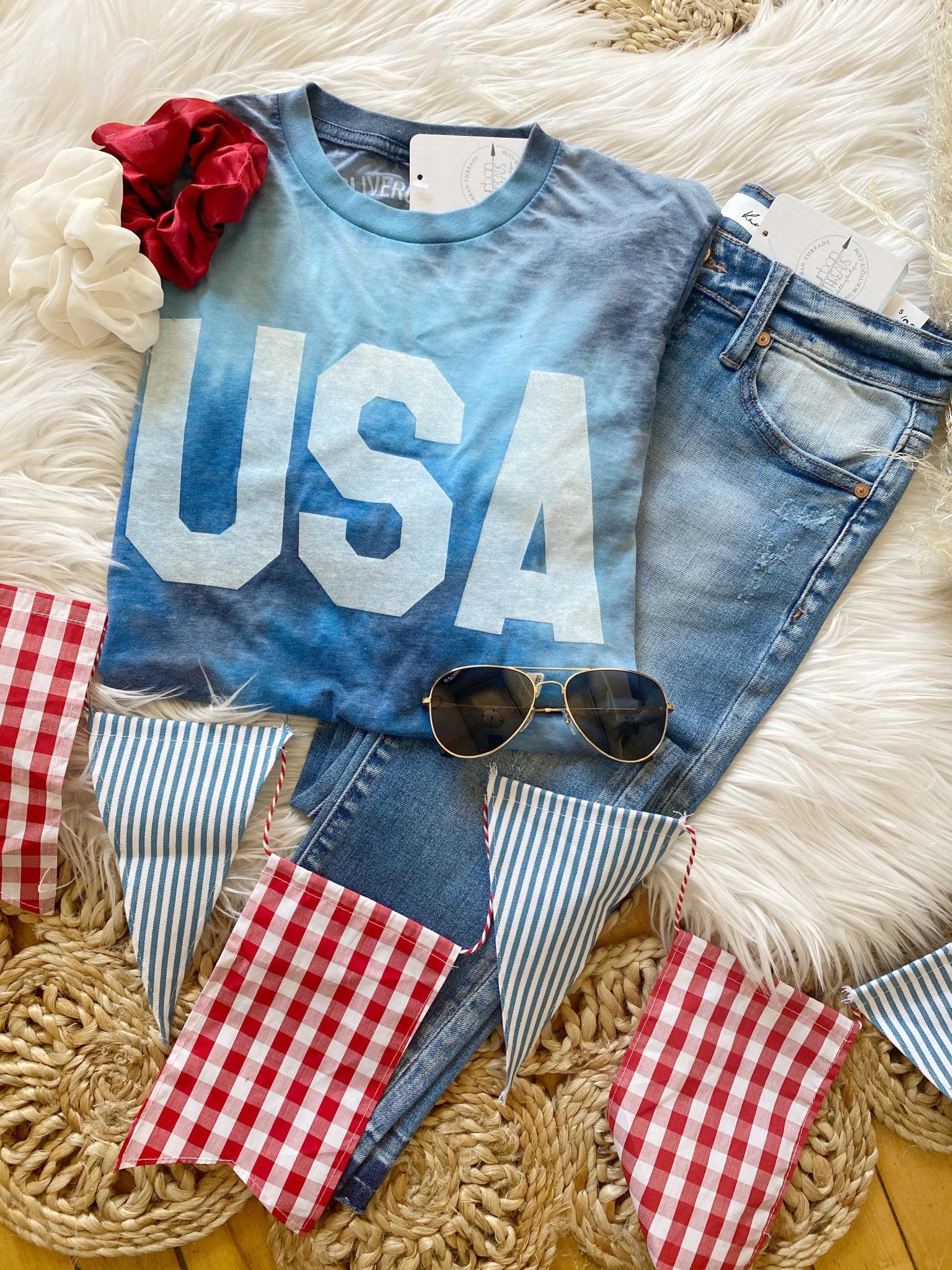Blue Tie Dye USA Shirt