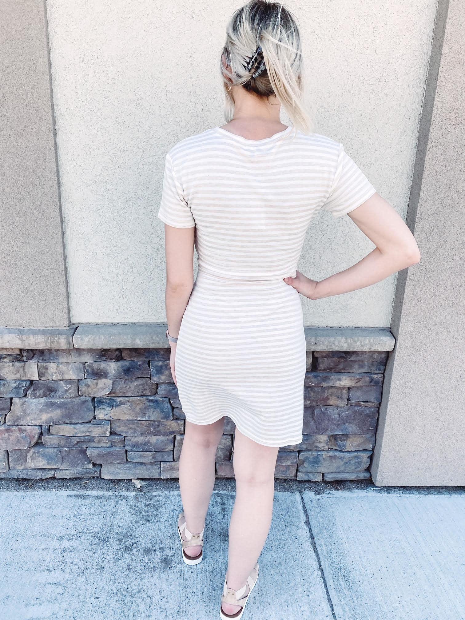 Kylie Oatmeal Tie Dress