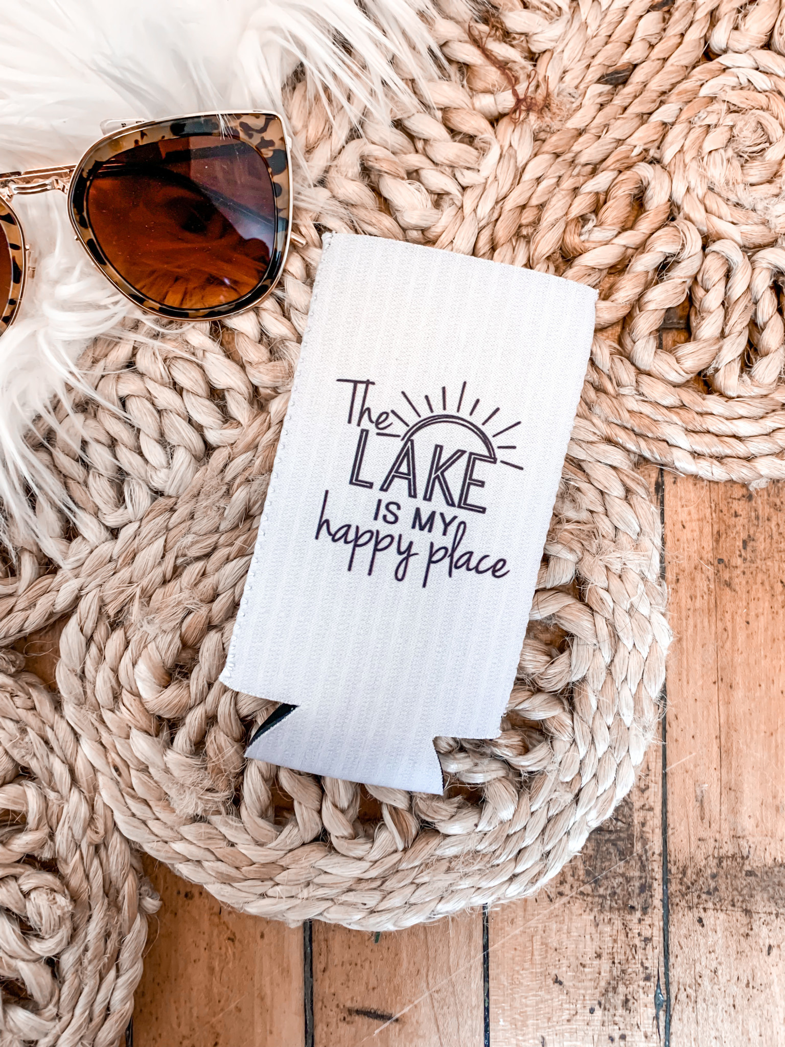 The Lake is My Happy Place Koozie