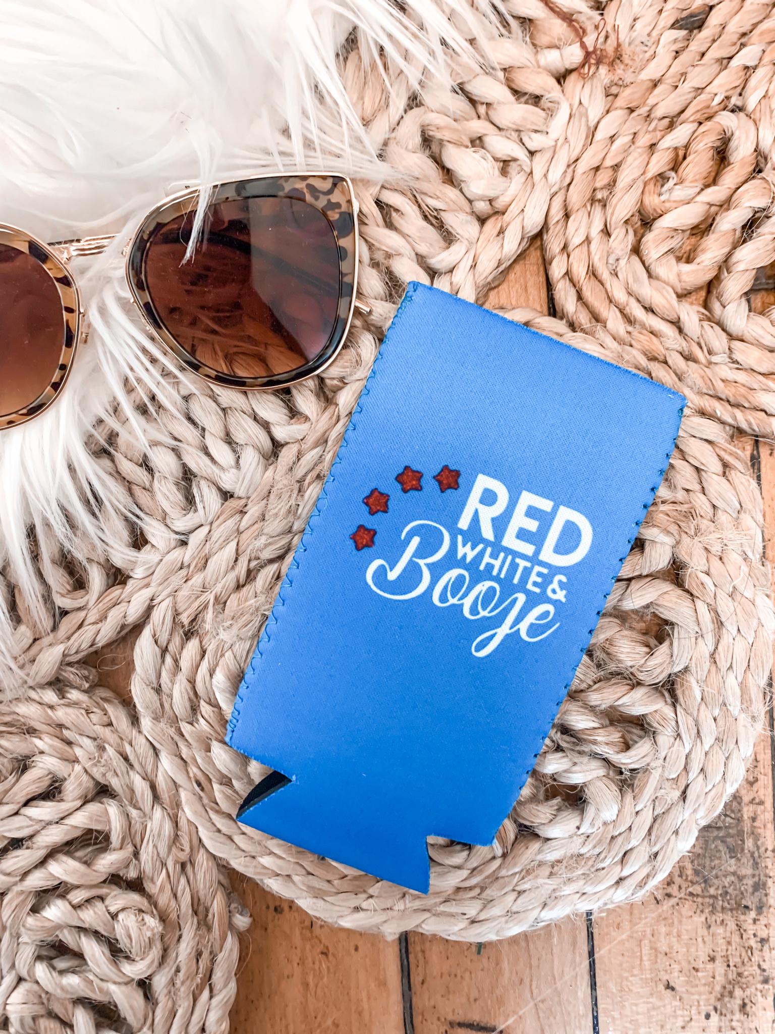 Red, White + Booze Koozie