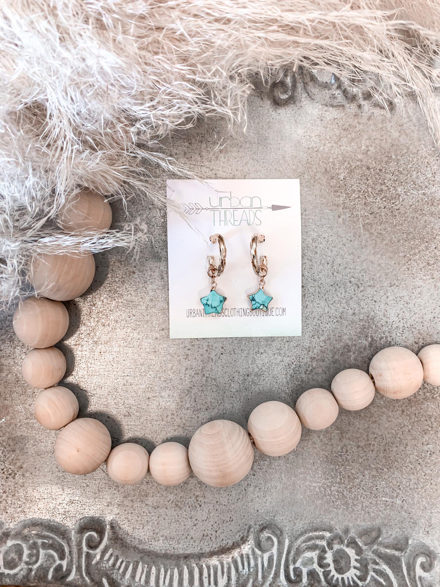 Mini Turquoise Star Drop Earrings