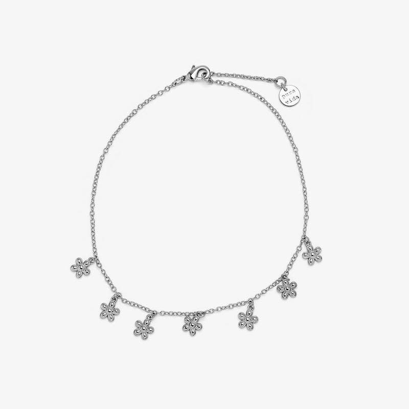 PuraVida Bitty Daisies Silver Anklet