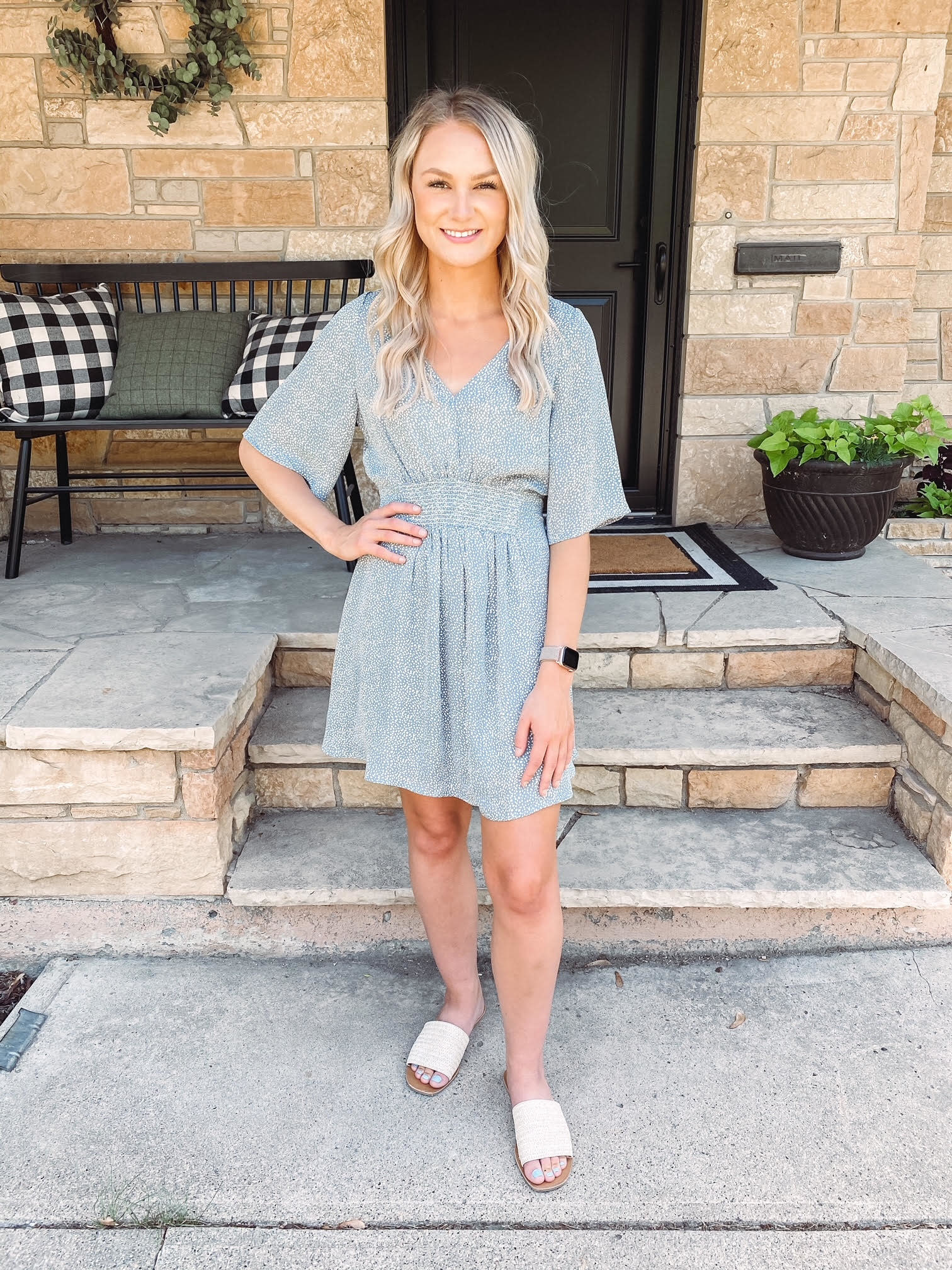 Eve Dusty Blue Spotted Dress