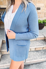 Claire Blue Open Front Cardigan