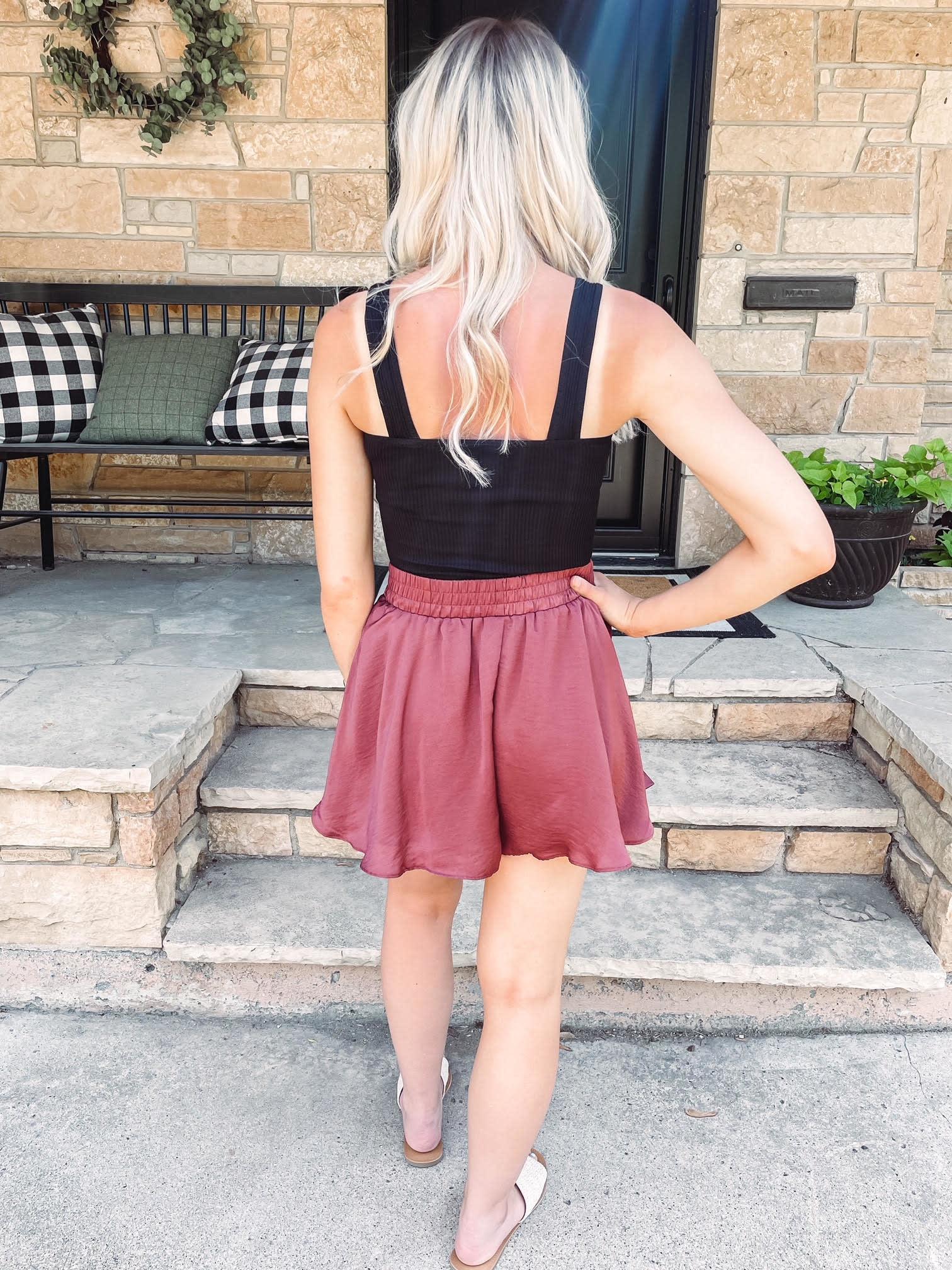 Sienna Ruffle Satin Shorts
