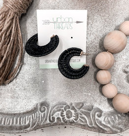 Black Straw Weave Earrings