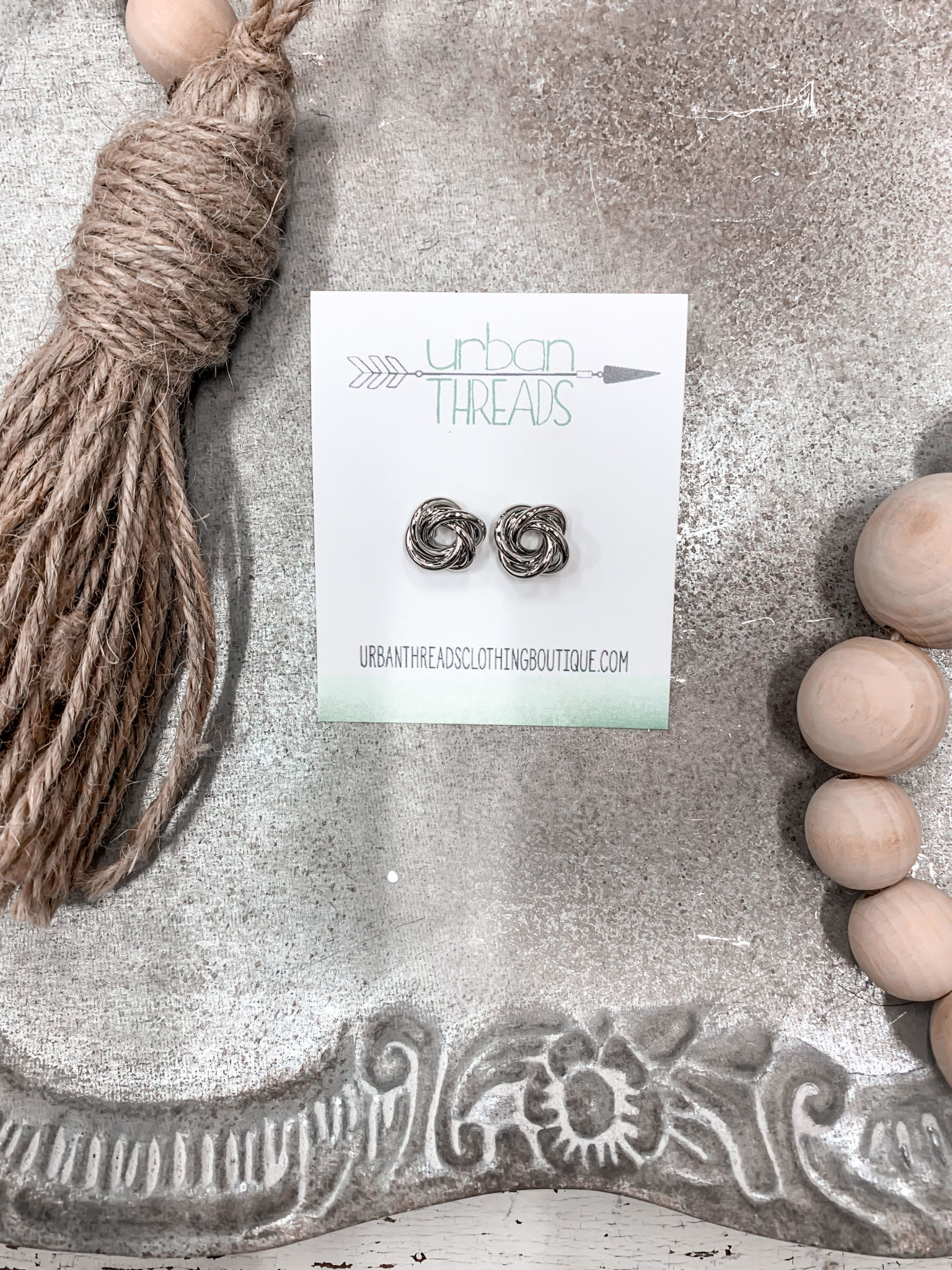 Silver Knotted Stud