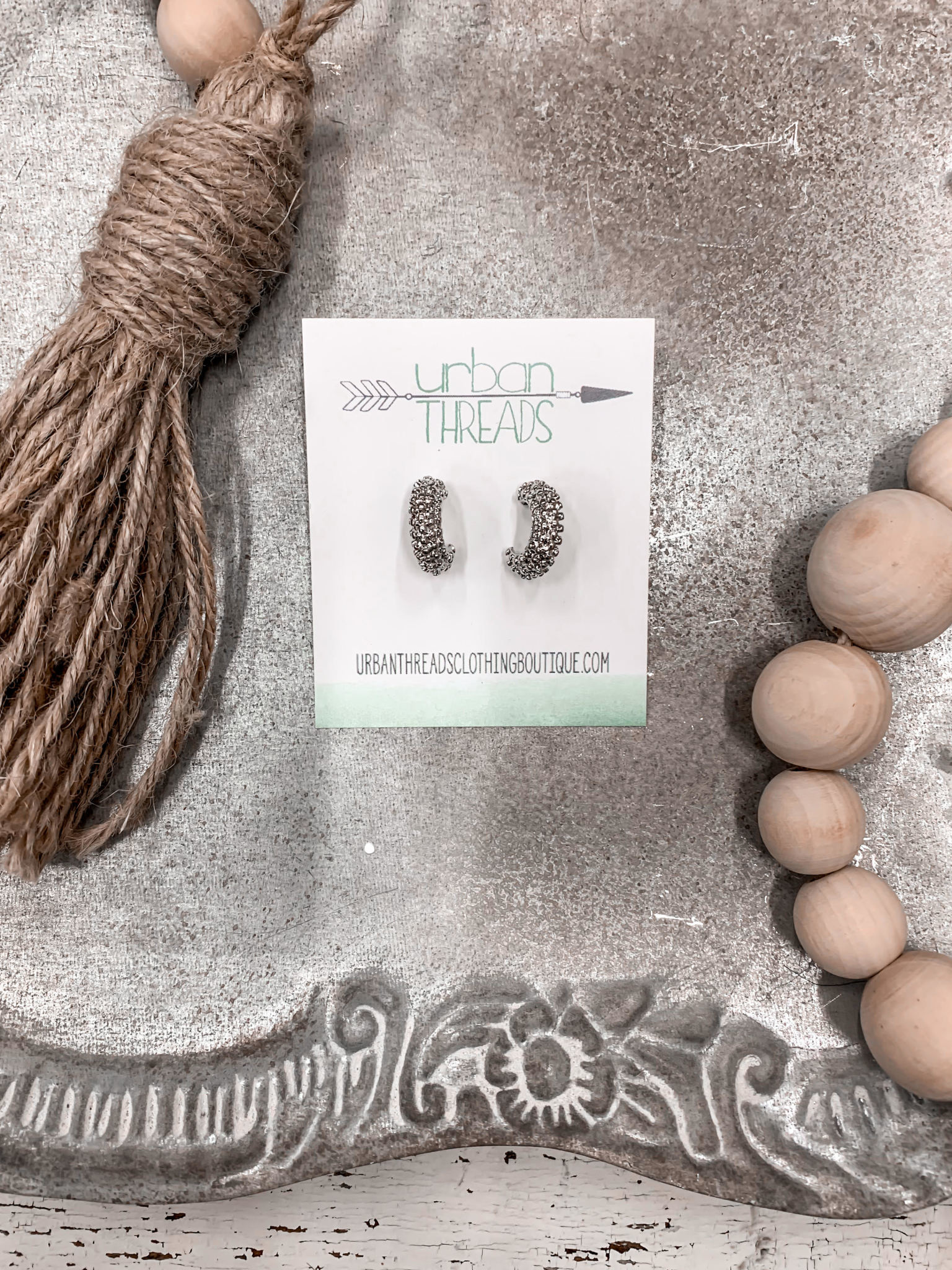 Tayla Silver Textured Earrings