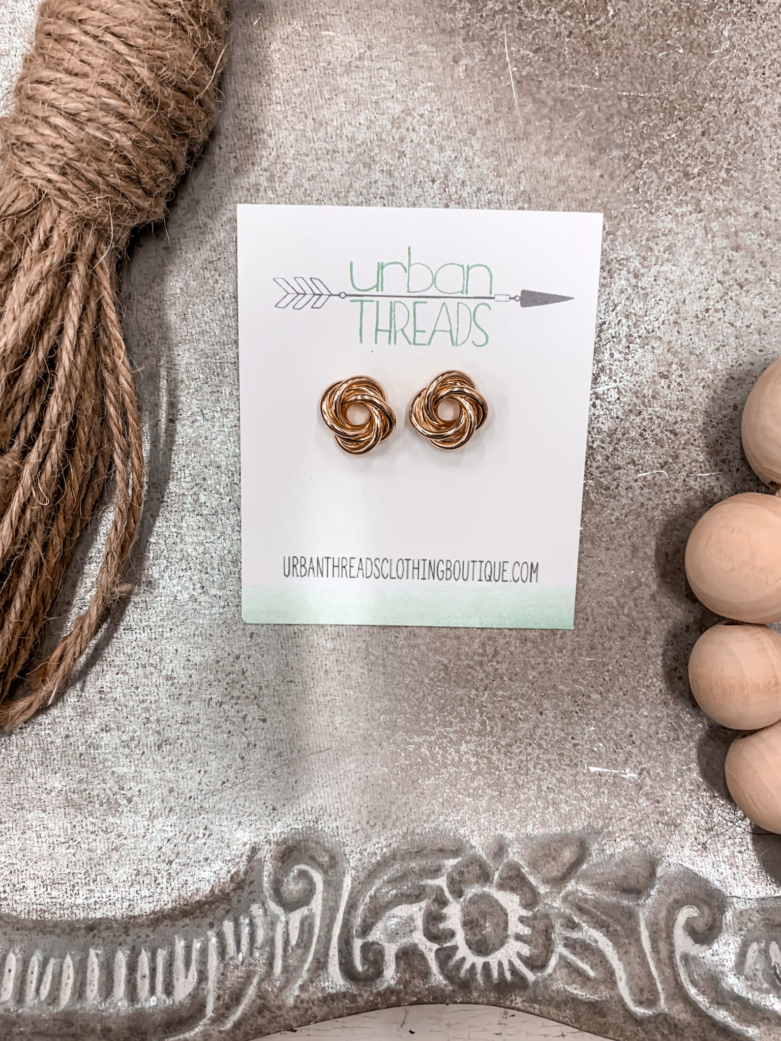 Gold Knotted Stud