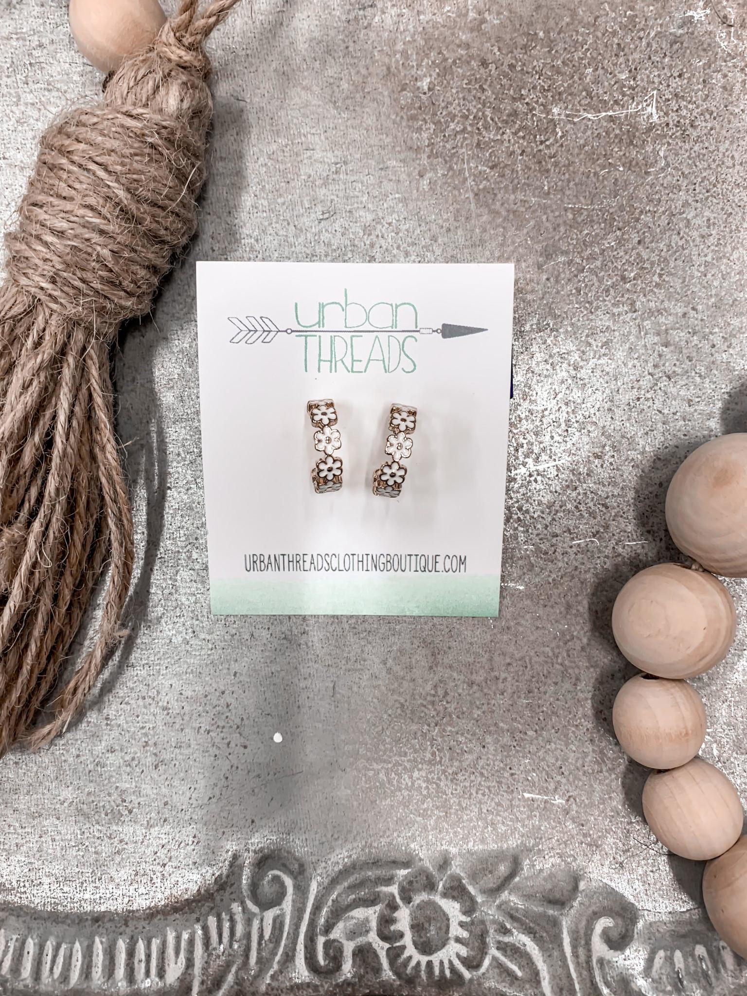 Gold Daisy Hoop Earrings