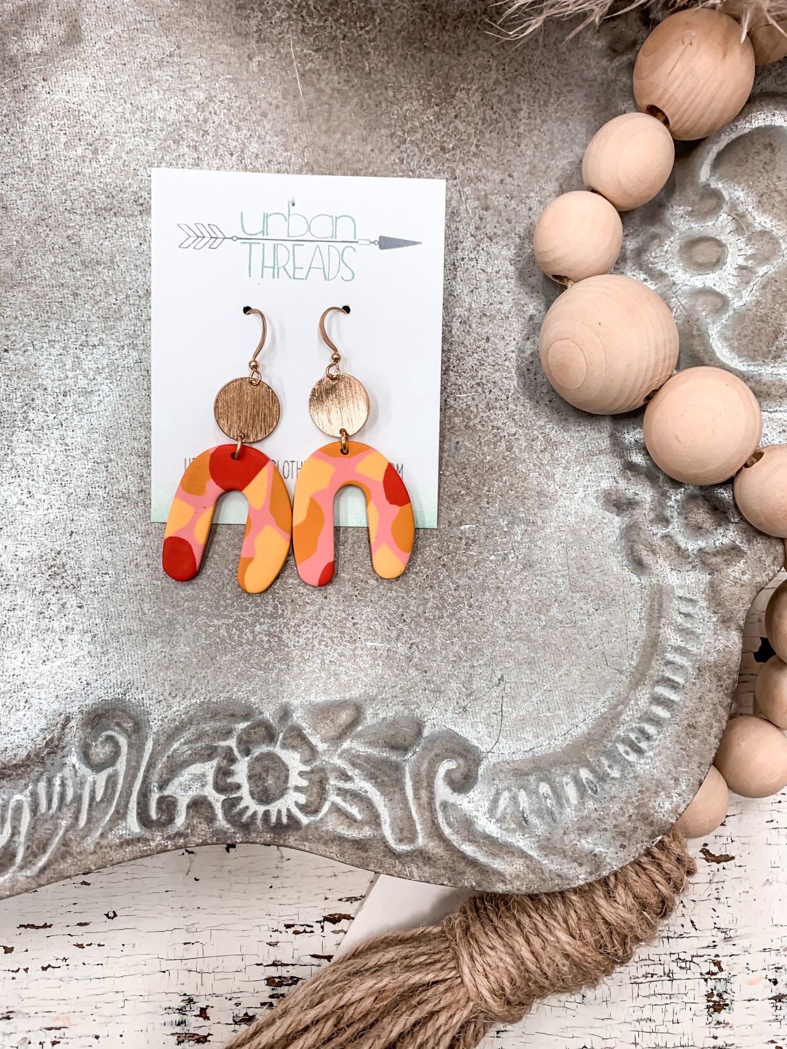 Hali Orange Clay Earrings