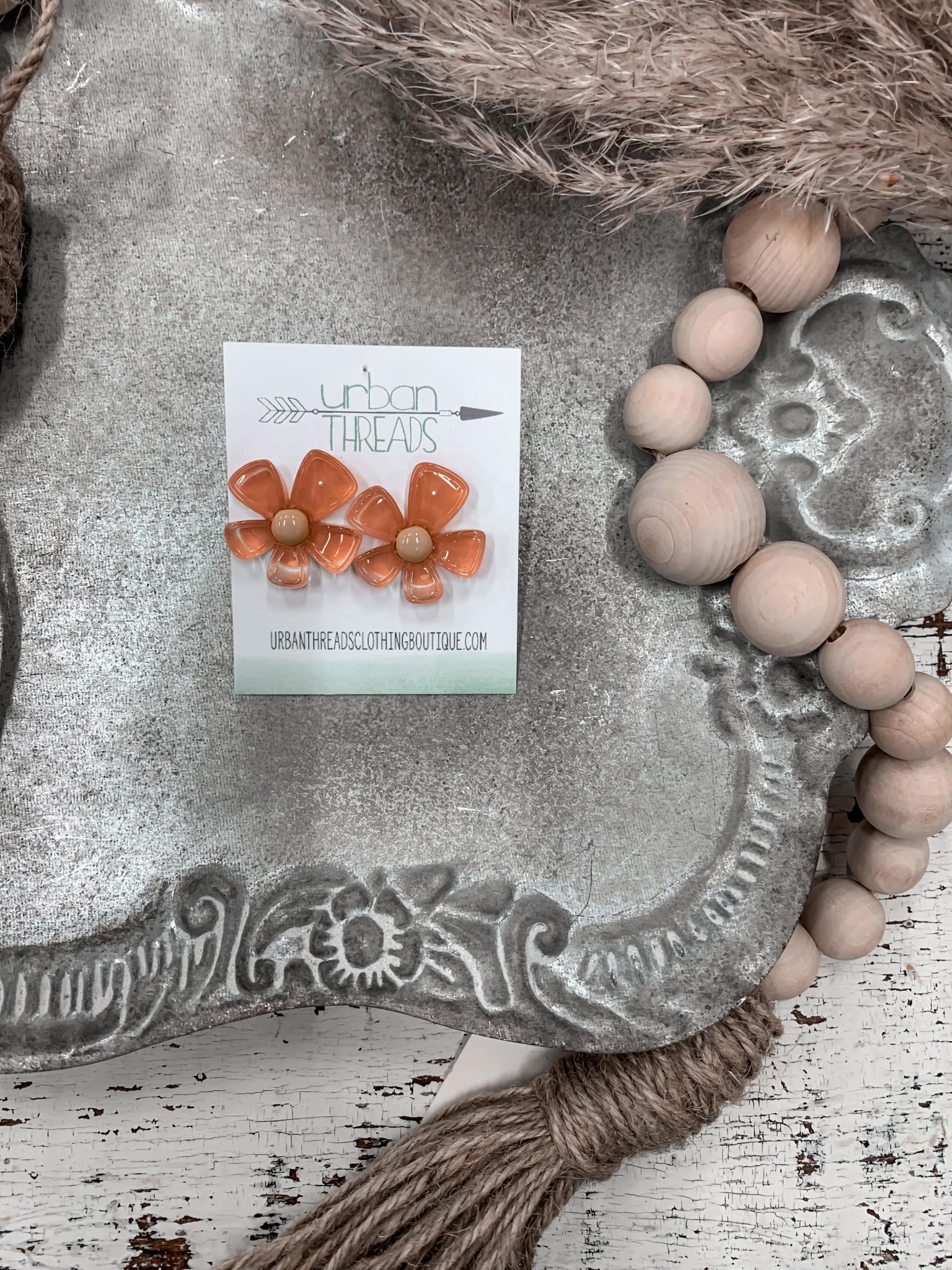 Peach Resin Flower Stud