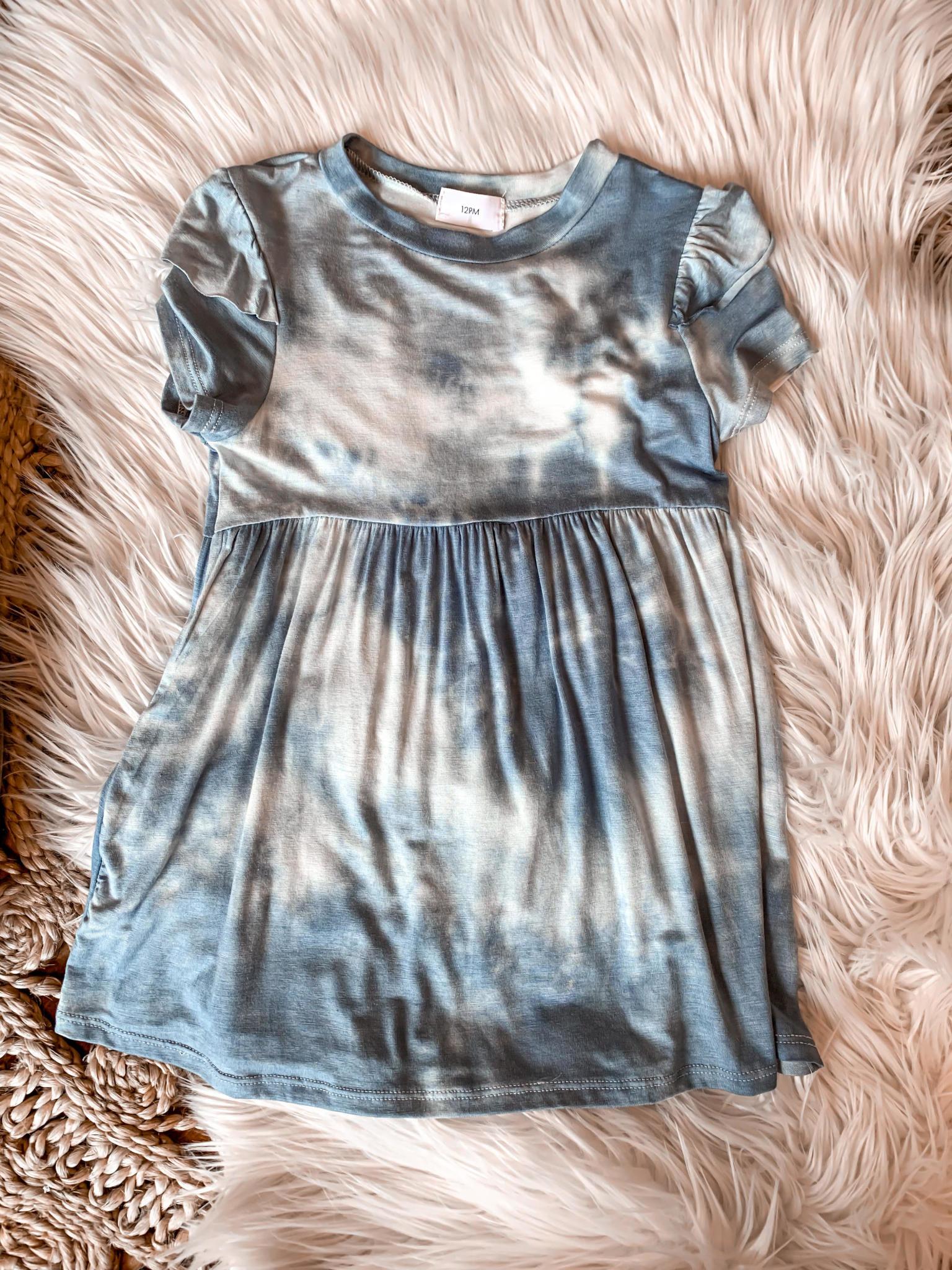 Girls  Blue Tie Dye Dress