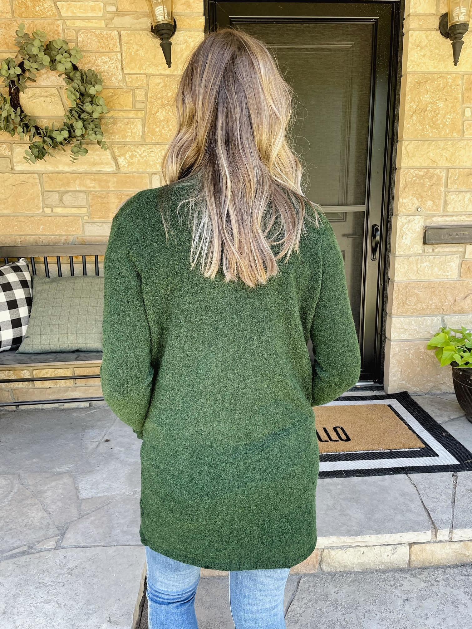 Taren Forest Green Textured Pocket Cardigan
